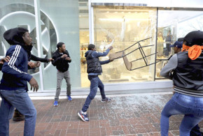 Violence mars Baltimore protest over death of black man in police custody