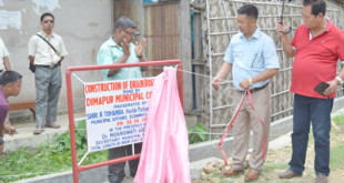R Tohanba inaugurating a drain in Dimapur during his visit to the municipality on Tuesday, June 30.