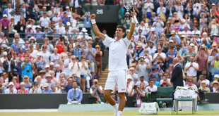 Novak Djokovic expresses his delight after booking his place in the quarter-finals of Wimbledon