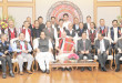 The Prime Minister, Shri Narendra Modi in a group photo at the signing ceremony of historic peace accord between Government of India & NSCN, in New Delhi on August 03, 2015. 	The Union Home Minister, Shri Rajnath Singh is also seen.
