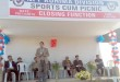 Minister of Social Welfare and Parliamentary Affairs Kiyanilie Peseyie speaking at the closing function NPF Kohima Division sports meet at Science College, Jotsoma