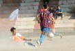 Players of Falcon FC, Jalukie 'B' (Orange) and Abide Club, Kiphire (Blue & Red) in action at Kohima Local Ground on Wednesday