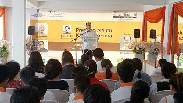MP Neiphiu Rio speaking at the inauguration of Pradhan Mantri Kaushal Kendra (PMKK)- a Model Skill Development Training Centre in Dimapur on October 24.