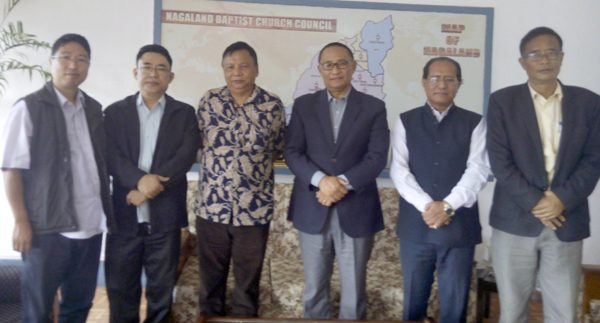 (Left to right) BJP Spokesman Yanghose Sangtam, BJP VP K James Vizo, NBCC finance secretary Rev. Yamyap Konyak, NBCC general secretary Rev. Dr. Zelhou Keyho, Convenor of BJP Clean Election Committee Dr. M.Chuba Ao and BJP DAC convenor Vizopal Chaya.