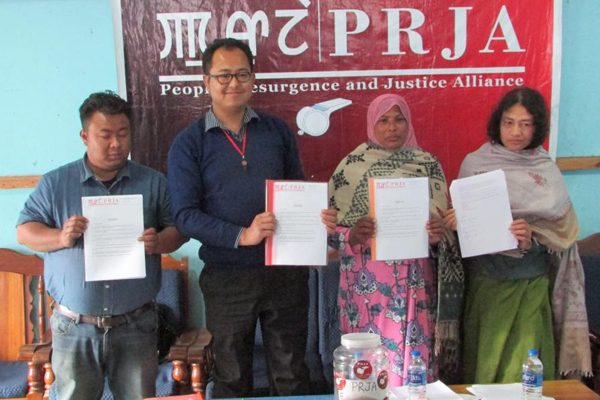 Irom Sharmila led Peoples Resurgence and Justice Alliance functionaries releasing their 10 point election manifesto in Imphal on Thursday.