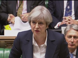 London : Britain's Prime Minister Theresa May speaks in the House of Commons in London  in this image taken from video  Wednesday March 29, 2017. May will announce to Parliament that Britain is set to formally file for divorce from the European Union Wednesday, ending a 44-year relationship, enacting the decision made by U.K. voters in a referendum nine months ago and launching both Britain and the bloc into uncharted territory. AP/PTI(PTI3_29_2017_000129B)