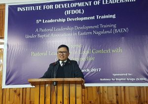 Secretary, Land Resources, Y. Kikheto Sema speaking at the ongoing 5th Leadership Development Training under Baptist Associations in Eastern Nagaland in Kohima on Monday.