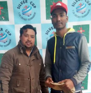 S S Alam of Royal Tourniquets after receiving the Red Cap award for the most runs scored till pre-quarter final.