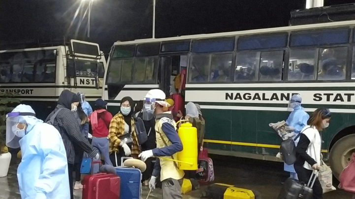 Citizens of Nagaland who were stranded in Chennai, Tamil Nadu, have arrived at the Dimapur railway station on the evening of May 22